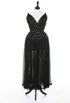 A Balenciaga couture black crêpe georgette evening gown, August, 1946, Paris labelled and numbered 23421,