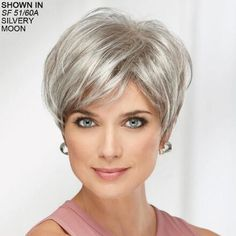 Shop our online store for short hair wigs for women. These natural hair and synthetic wigs fit mini petite, petite, average and large head sizes. Wig styles include straight, curly and wavy hair in your favorite pixie, bob or cropped hairstyle. Grey Wig, Short Grey Hair, Very Short Hair, Short Hair Cuts, Short Hair Styles, Wig Styles, Short Choppy Haircuts, Great Haircuts, Short Hairstyles For Women
