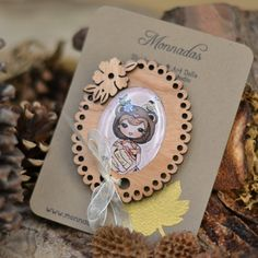 """Wood brooch with one of my illustrations from my """"In the Forest"""" Collection."""