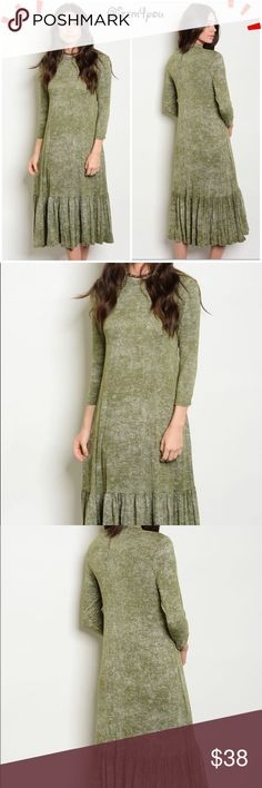 🆕Olive Dress Brand new from my boutique with tags. Fabric content - 95% rayon , 5% spandex. Bundle and get discount!  💠💠OFFERS ARE WELCOME .💠💠 🚫🚫SORRY PLEASE NO TRADES 🚫🚫.  Sizes available- XS, M, L. Please don't hesitate to ask questions! Message me below with size. Dresses Midi