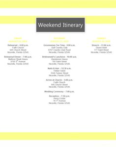 yellow stripe wedding itinerary template download template on bridetodocom