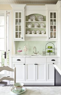 Sweet Butler S Pantry With Creamy White Cabinets Painted Benjamin Moore Dove Pale Green Beadboard Backsplash Marble Countertop