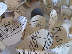 Vintage French Sheet Music Paper Heart Garlands by futtatinni, $10.00