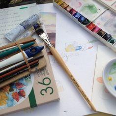 obsesiva del color pinturas y pinceles