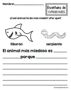 Escritura de opiniones----- Spanish Opinion Writing unit for Kindergarten, first and second grande. Escribir opiniones en espanol.