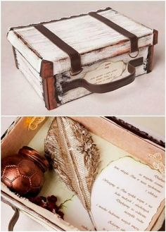 Suitcase/Memory Box: from a shoe box, like the way this is done as a suitcase, with leftover strips of leather, painted/ distressed --- Great idea for gifts, memories, collections too precious to throw away & not able to be displayed, things needed for a project, spell box, etc.
