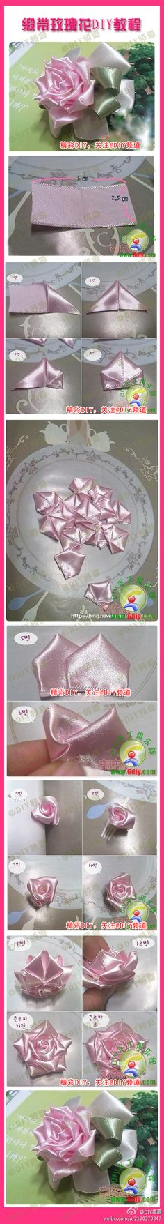 Pretty Ribbon Rose Pictorial from Duitang.  In Chinese (I think)  but the pictures are the DIY.【缎带玫瑰花DIY教程】非常漂亮的缎带玫瑰花,学习一下吧~~~