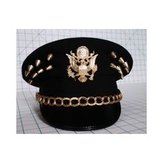 Gold Eagle Studded Military hat cap 6 7/8 ($125) ❤ liked on Polyvore featuring accessories, hats, black studded hat, gold hats, black military cap, black hat and caps hats