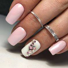 What manicure for what kind of nails? - My Nails Swarovski Nail Crystals, Crystal Nails, Pretty Nail Designs, Toe Nail Designs, Best Nail Designs, Pink Nails, Toe Nails, Pink White Nails, Gray Nails
