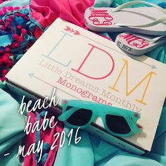 Libby & Dot Collections: Boutique Clothing and Monograms - May's Monogram Subscription Box had a monogram swimsuit cover, sunglasses, and monogram flip flops.  LOVE the aqua and pink combo!