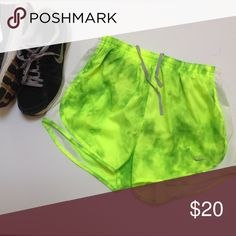 Nike Neon Green Dri Fit Tempo Running Shorts Vibrant and super comfy Nike shorts! Green Tie Dye, never worn. Nike Shorts