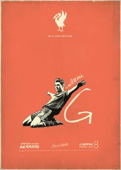 Steven Gerrard - soccer, football poster - by Zoran Lucić Retro Football, Football Design, Football Art, Vintage Football, Football Posters, Steven Gerrard, Liverpool Football Club, Liverpool Fc, Liverpool Poster