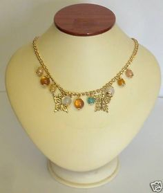 GOLD TONE BUTTERFLY CHARM BEAD NECKLACE NEW BOXED
