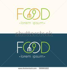 Modern minimalistic vector logo of food. Vector illustration.