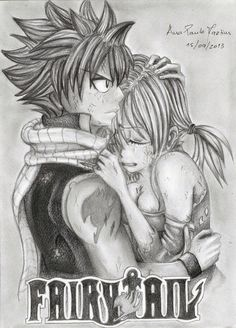 Fairy tail(: Natsu and Lucy. :) Amazing drawing!(: