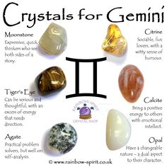 Gemini Birthstones with crystal healing explanations, a crystal set poster by Rainbow Spirit crystal shop