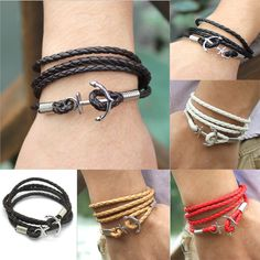 New Cool Fashion Men s Multi Surround Genuine Leather Bracelet Style Black