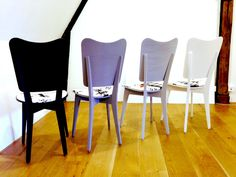 upcycled Set of 4 ombre chairs GINZA TOKYO dining room Chairs Scandinavian Black and White