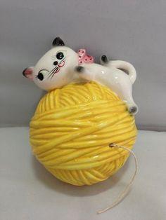 Kitschy kitten vintage string holder by Holt Howard.
