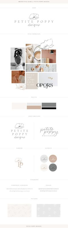 The New Petite Poppy Designs - A Thoughtful Brand + Design Studio Brand Identity Design, Brand Design, Web Design, Graphic Design, Graphic Art, Brand Style Guide, Photo Logo, Palette, Logo Design Inspiration