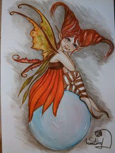 Aquarelle d'une fée follette , pièce unique et original (38 euros) elle vient du monde magique  des fées , elfes et lutins, des tronches flaurifolles ! certains sont en terre de grès, d'autres comme les bébés de fées sont en porcelaine froide et il y a les aquarelles ou dessins au crayon des fées follettes . http://www.facebook.com/pages/LES-TRONCHES-FLAURIFOLLES/191864113278