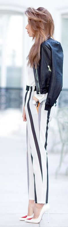 Striped Pants Outfit Idea