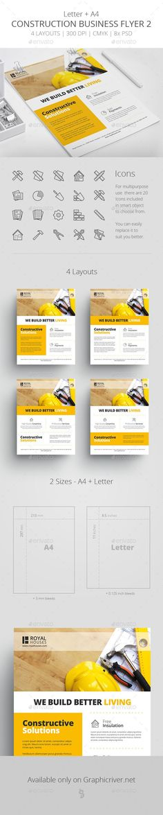 architecture, builder, business, company, construction, construction flyer, constructor, contractor, corporate, flat, flyer, house, icons, industry, minimalistic, plumber, real estate, sleek Construction Business Flyer Template 2  	Features    CMYK, 300DPI Letter (8.5×11 inches) + DIN A4 (210×297 mm) with appropriate bleeds 4 Layouts to choose from (1 PSD = 1 layout) Total of 8 PSD files with flyer layouts and formats Minimal modern design Free Font used Image Placeholder – easy to change…