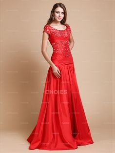 New Style A-Line/Princess Scoop Beading Floor Length Short Sleeve Taffeta Evening Dresses