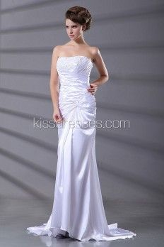 Column Silhouette With Strapless Neckline Wedding Dress
