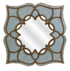 36 Caimile Distressed Pale Blue Wrought Iron and Wood Wall Mirror ** To view further for this item, visit the image link.