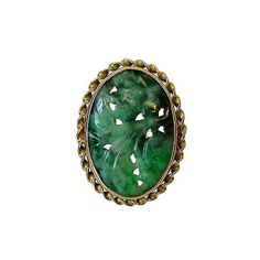 Vintage Gold and Carved Jadeite Ring by AcanthusAntiques on Etsy