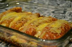 Avocado & Pinto Bean Enchiladas | Dreena's Vegan Recipes.  Made it without the chili sauce and added Monterrey Jack cheese to top...pretty tasty!