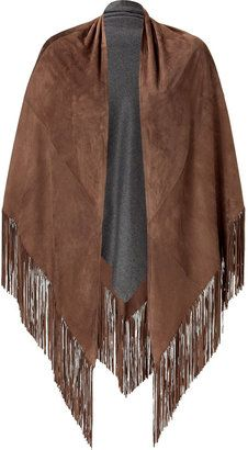 ShopStyle: Private B Walnut/Grey Fringed Suede/Cashmere Cape
