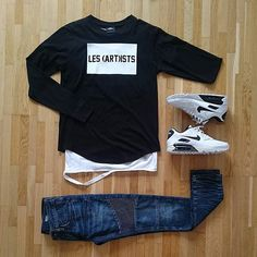 Grid-time ✌ ✔ sweater: Les artist ✔ ripped tee by:Things to appreciate ✔ Bikerjeans: River island ✔ Sneakers: Nike ID Dope Outfits, Casual Outfits, Men Casual, Fashion Outfits, Men's Outfits, Fashion Ideas, Fashion Mode, Mens Fashion, Style Fashion