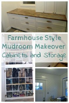 #Farmhouse #MudroomMakeover Cabinets and Storage, all in 60 square feet #fabuwood