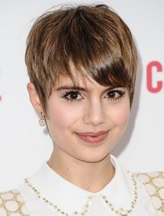 Celebrity Short Hairstyles: Cute Short Pixie Cut with Long Bangs