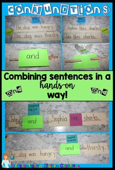 Get Hands On with Conjunctions! Make a quick and easy manipulative to bring the … Get Hands On with Conjunctions! Make a quick and easy manipulative to bring the conjunctions alive. Combine sentences to create compound subjects or predicates. 2nd Grade Ela, 4th Grade Writing, Teaching Writing, Teaching Kids, Second Grade, Teaching Grammar, Student Teaching, Fourth Grade, Teaching English