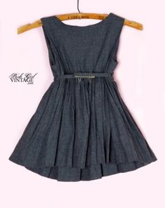 1950's Grey Flannel Girls Vintage Swing Dress Kids Children's vintage clothing & girls dresses :