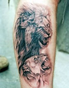 Lion and lioness couple tattoos Lion And Lioness Tattoo, Lioness Tattoo Design, Female Lion Tattoo, Pinterest Tattoo Ideas, Couple Tattoos Love, Feather Tattoos, Henna Tattoos, Tatoos, Ring Finger Tattoos