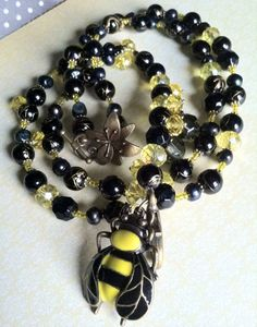 """Beaded lanyard ID badge holder """"Bumble Bee"""", """"Majestic Garden"""" collection by Acacia Bella on Etsy, $48.00"""