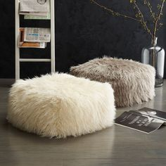 Faux wool poof from West Elm Transition Your Fall Decor to Winter with Metallic Flair | via @decoist