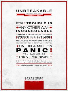 """Unbreakable"" Poster Backstreet Anniversary"