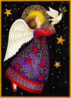 New Painting Christmas Angels Ideas Vintage Christmas Cards, Christmas Images, Christmas Angels, Christmas Art, Angel Images, Angel Pictures, Illustration Noel, Christmas Illustration, I Believe In Angels