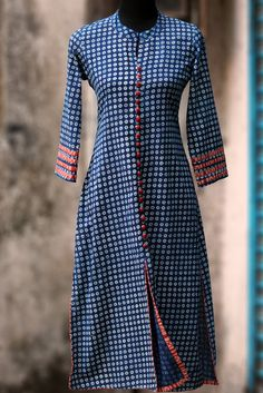 long kurta - indigo & red poppins