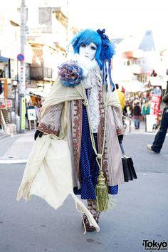 Shironuri Minori w/ Blue Hair, Lace, Stripes, & Oversized Tassel in Harajuku (via Tokyo Fashion News)