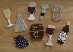 Wine Cookies Thanks for looking! Recent cookies done for a wine themed bridal shower. The final cookies added a replica of the cake! Bridal Shower Wine, Bridal Shower Games, Bridal Shower Decorations, Bridal Showers, Wine Theme Cakes, Themed Cakes, Wine Cookies, Italian Party, Sugar Cookie Frosting