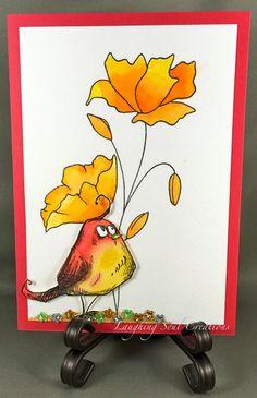 Penny Black's Divine flower stamp; Tim Holtz Bird Crazy stamp and dies