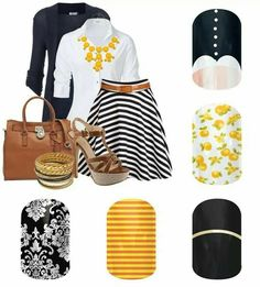 Jamberry Nail Wraps shown are: Madeline, Sweet Citrus, Gold Streak, Citrus Skinny and Black & White Damask ~ A few of these designs are only here until the end of Aug/14 so you better grab them while you have the chance! ~ http://salonfresh.jamberrynails.net