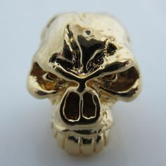 Emerson Skull Bead in 18K Gold Plated Finish by Schmuckatelli Co.