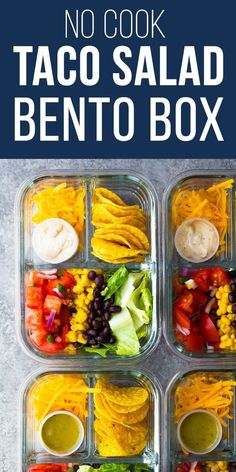 This no cook taco salad bento box recipe is ready for your lunch in under 20 minutes! A great meal prep lunch option when you're too busy. Glass bento box containers, lunch for adults snacks no cook No Cook Taco Salad Bento Box Recipe Lunch Snacks, Clean Eating Snacks, Lunch Recipes, Healthy Eating, Salad Recipes, Bento Lunchbox, Snack Box, Breakfast Snacks, Lunch Meal Prep